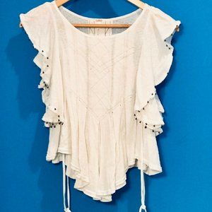 Free People Flowy White Top